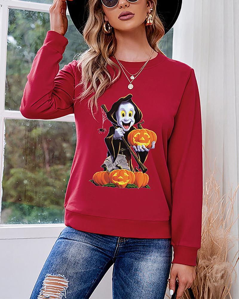 Halloween Monster Pumpkin Print Long Sleeve Sweatshirt