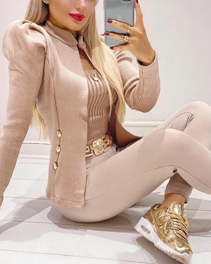 Double Breasted Puff Sleeve Coat & Skinny Pants Set