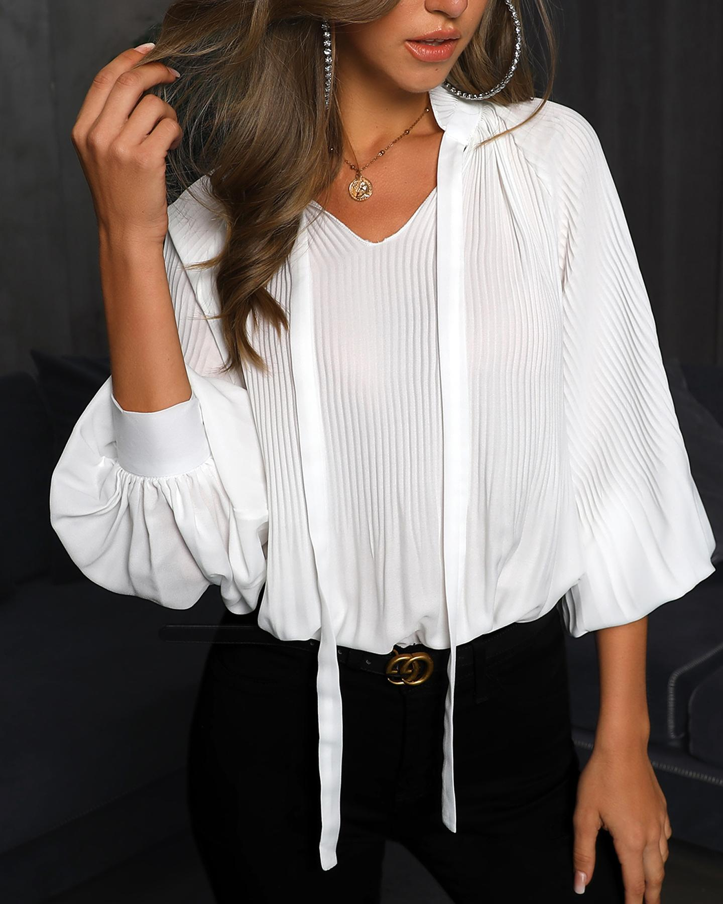 Lantern Sleeve Ruched Design Casual Blouse