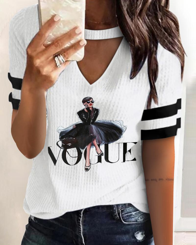 Ivrose coupon: Letter Graphic Print Colorblock Ribbed Knit Top