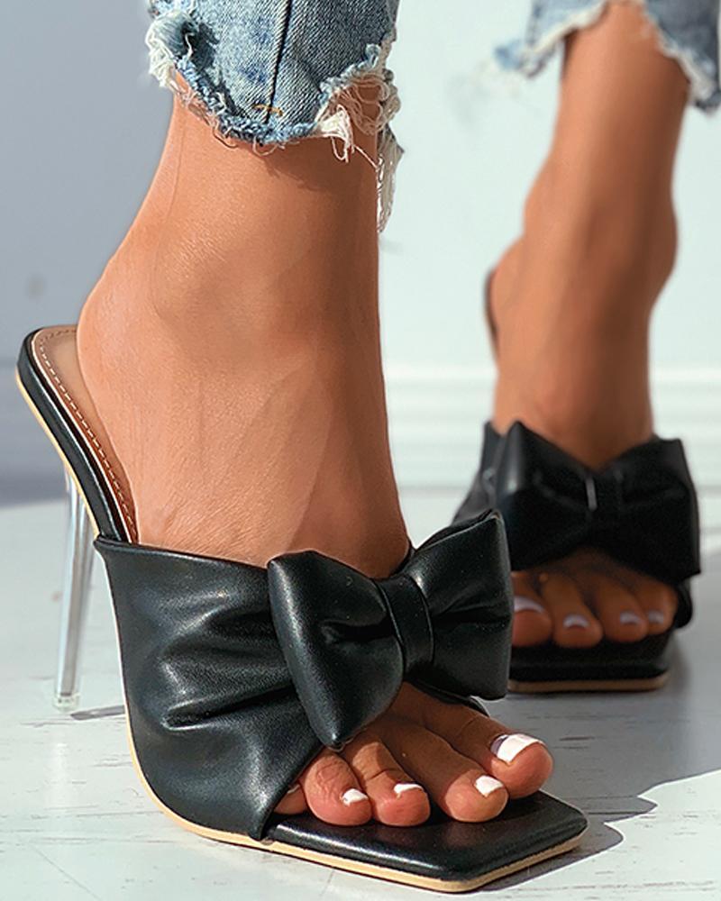 Square Toe Bowknot Clear Stiletto Heel thumbnail