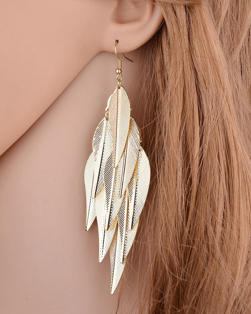 1Pair Feather Decor Layered Drop Earrings