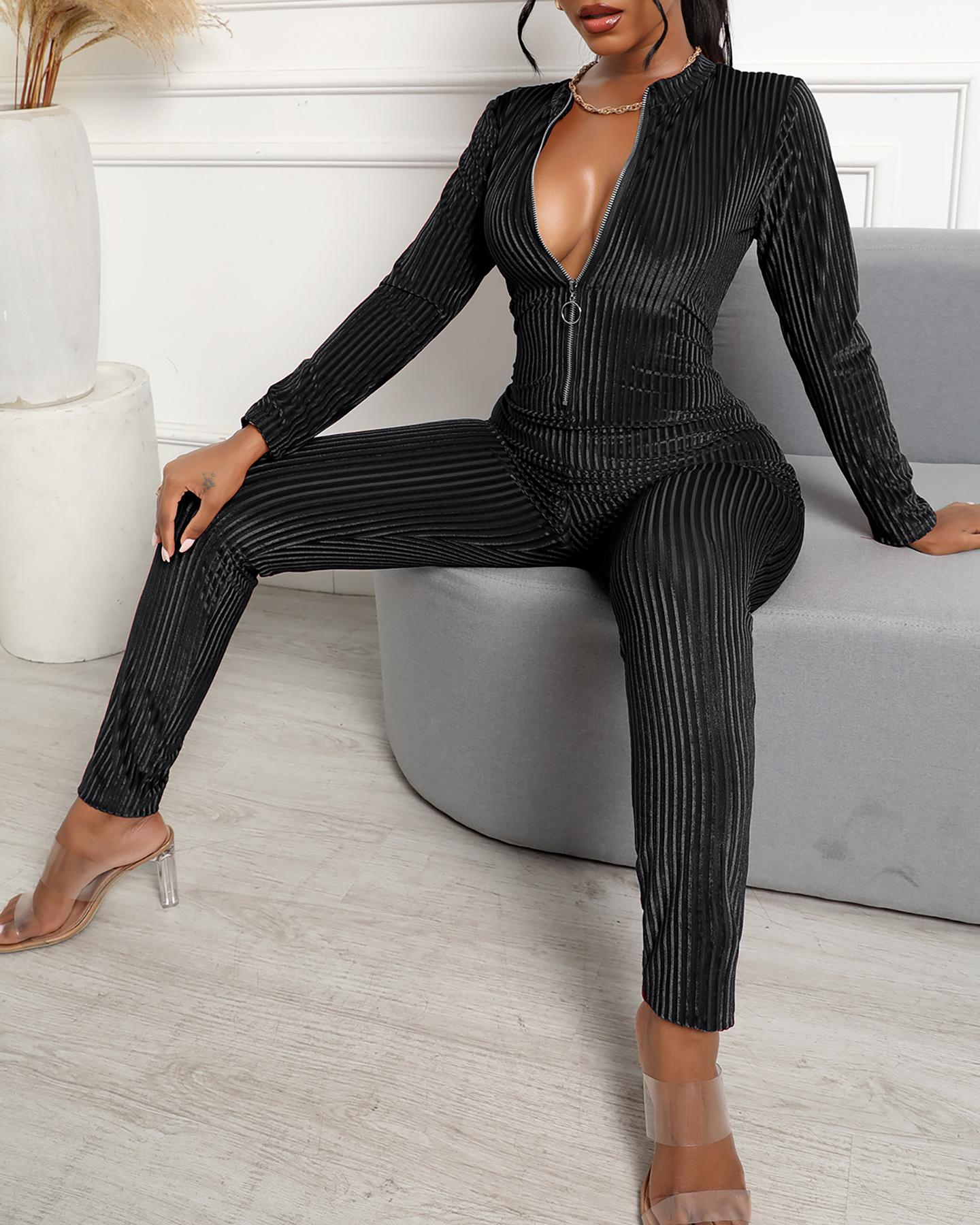 Striped Print Zipper Design Long Sleeve Skinny Jumpsuit