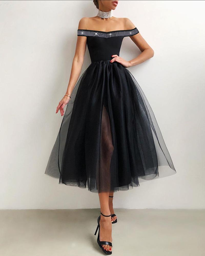 Studded Off Shoulder Sheer Mesh Evening Dress