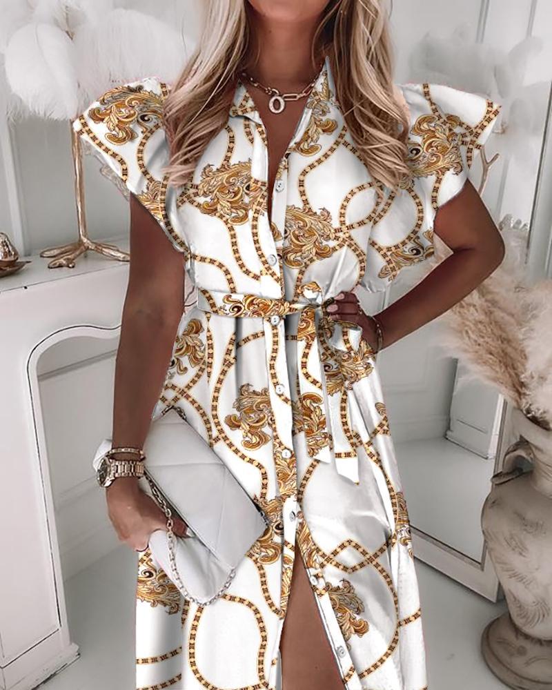 Scarf Print Flutter Sleeve Button Up Tied Shirt Dress