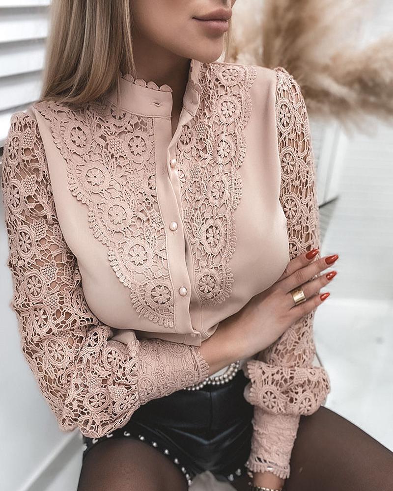 Guipure Lace Mock Neck Button Design Blouse