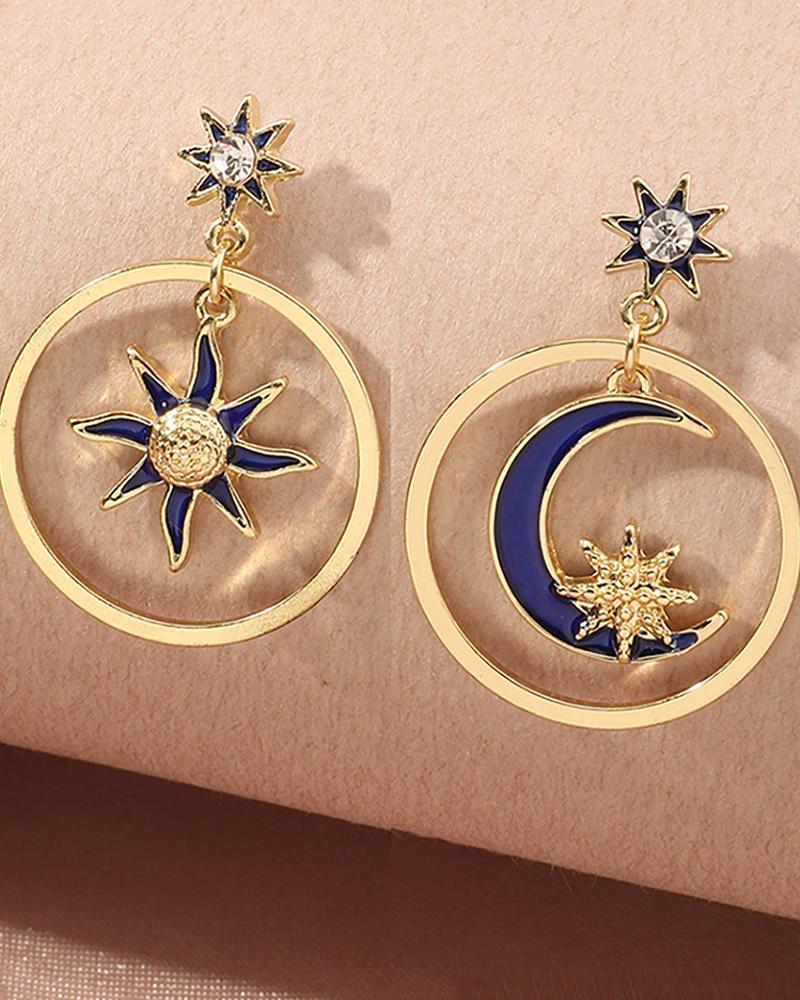 1 paire de boucles d'oreilles pendantes rondes motif étoile lune soleil