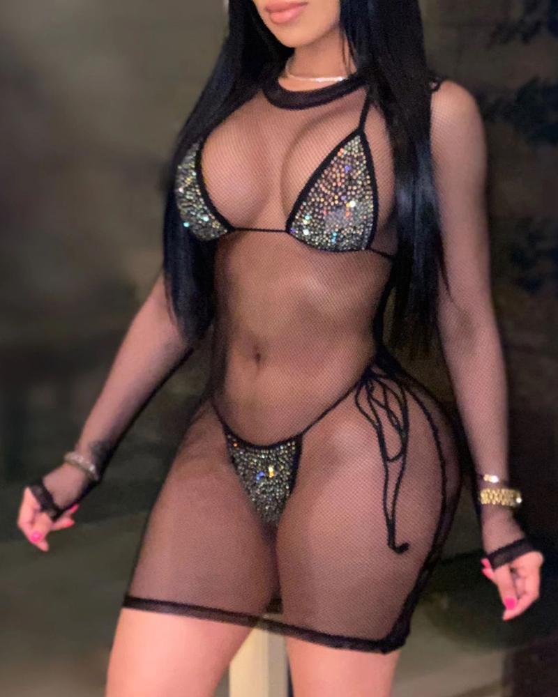 3PCS Sheer Mesh Bikini Set