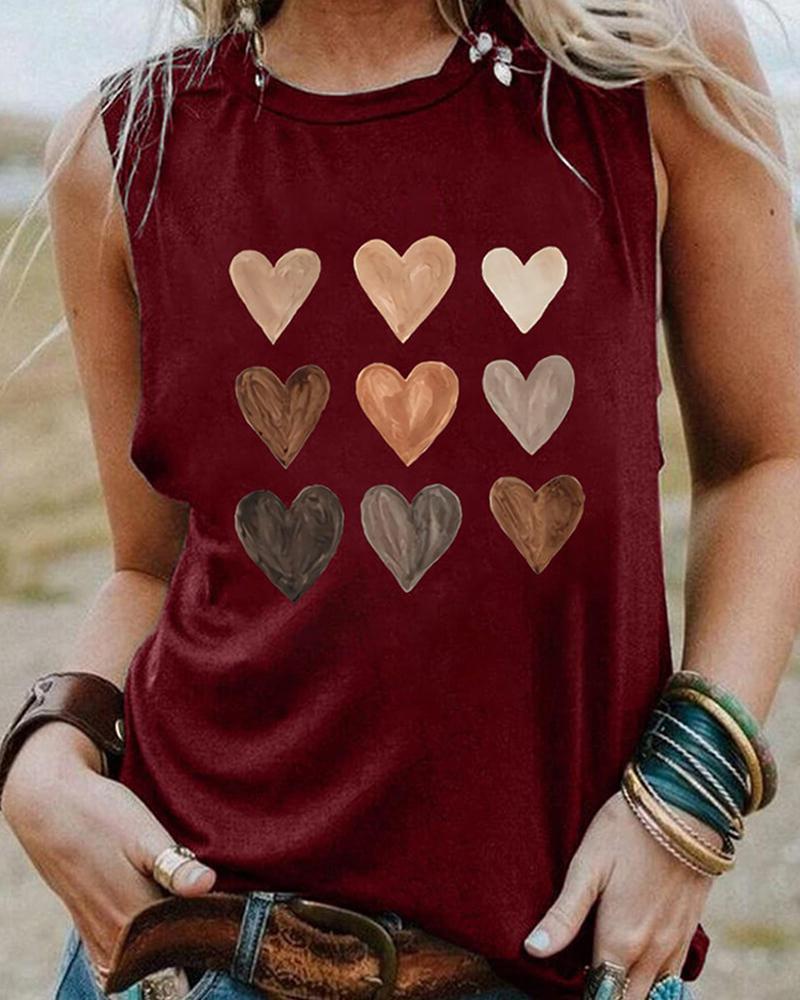 Heart Print Sleeveless O-neck Tank Top, Wine red