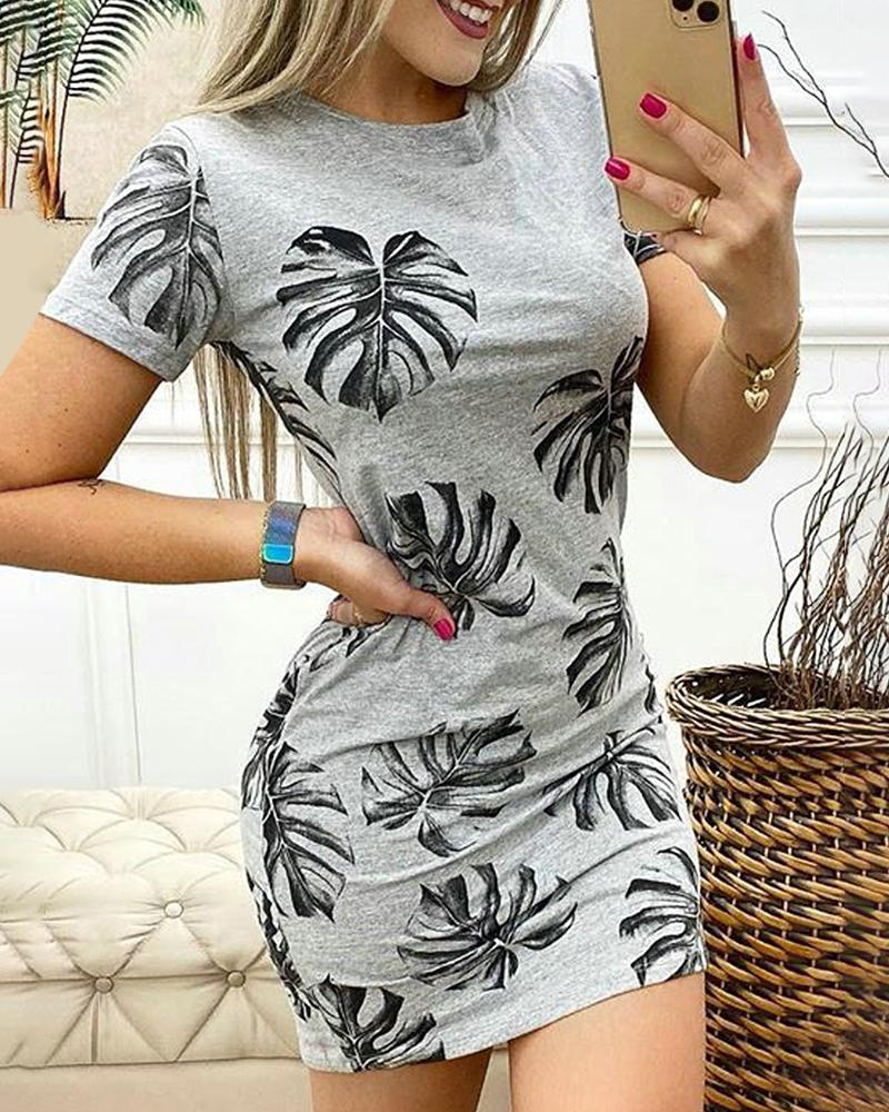 Leaf Print Short Sleeve Casual Dress
