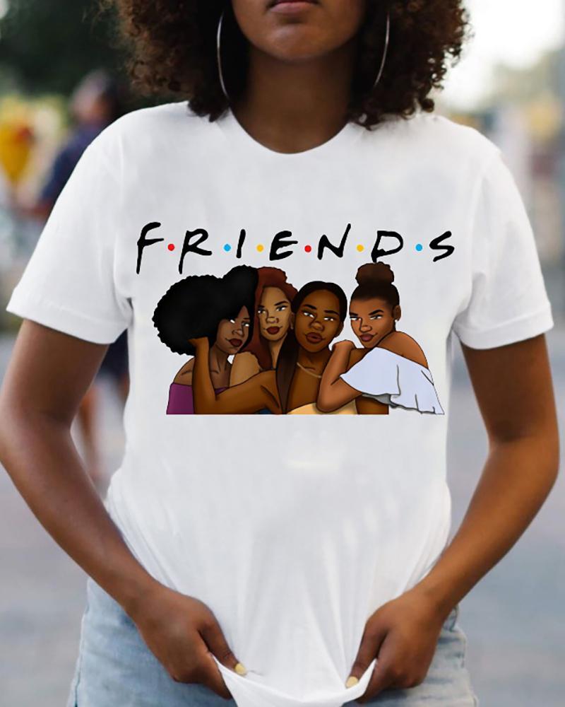 Ivrose coupon: Figure Letter Print Short Sleeve Casual T-shirt