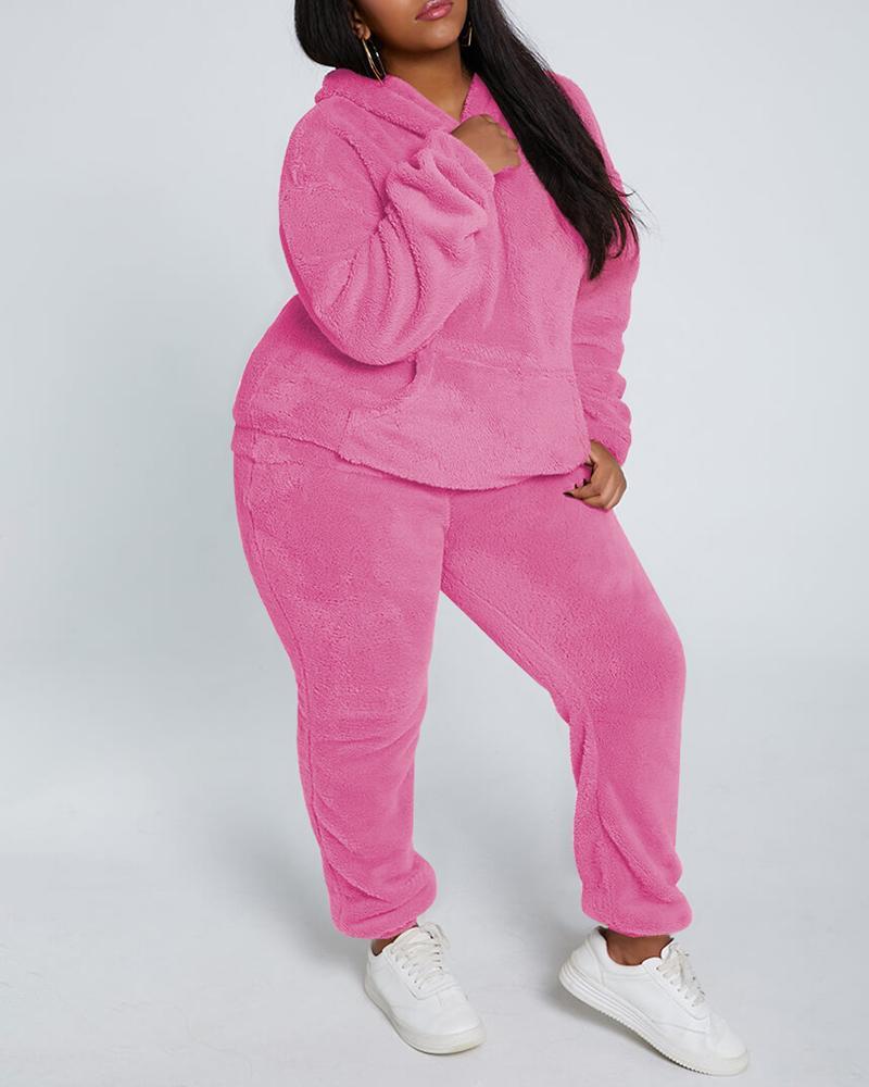 Pocket Design Hooded Fluffy Coat & High Waist Pants Set