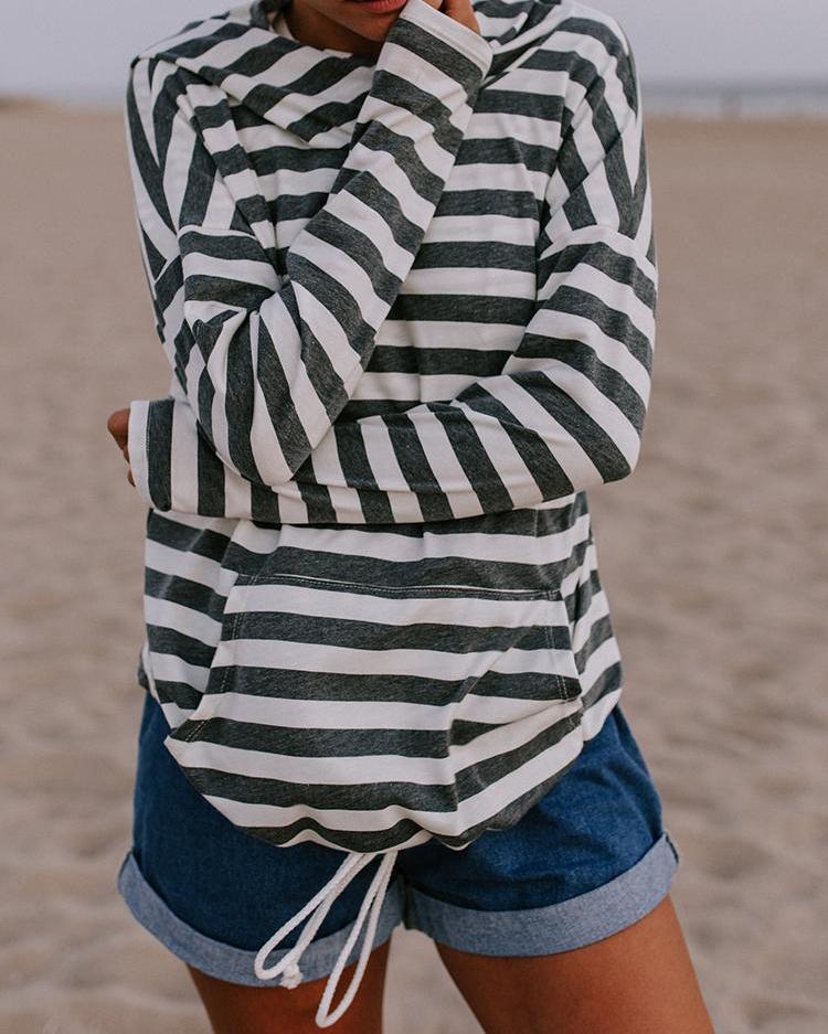 Boutiquefeel coupon: Contrast Stripes Pocket Design Drawstring Hoodie