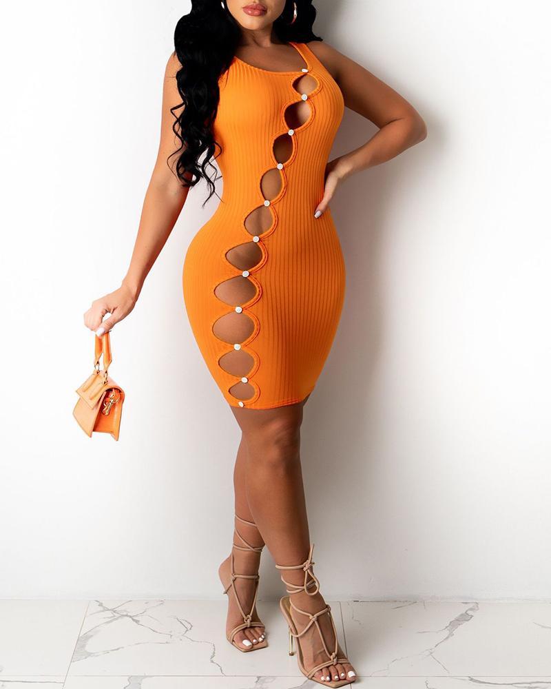 Plain Cutout Thick Strap Bodycon Dress