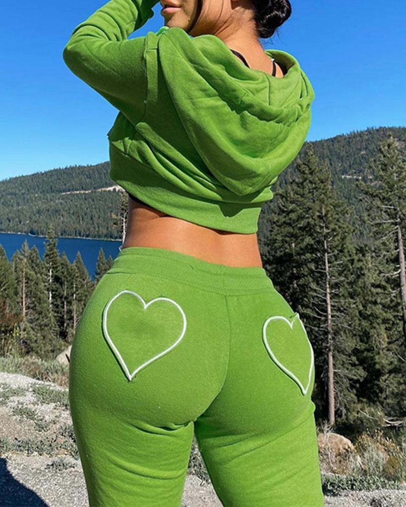 Zip Up Drawstring Hooded Crop Top & Heart Patch Pants Set