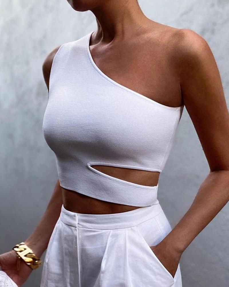 Solid Color One Shoulder Sleeveless Cut-out Skinny Cropped Tank