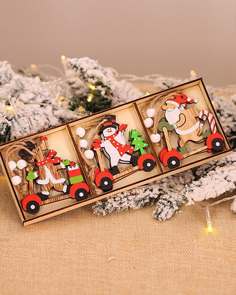 9PCS/Set Christmas Santa / Car Pattern Wood Ornaments