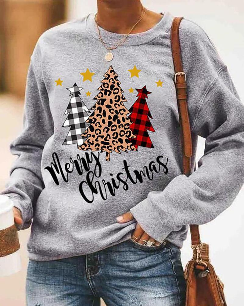 Christmas Letter Tree Print Long Sleeve Casual Sweatshirt
