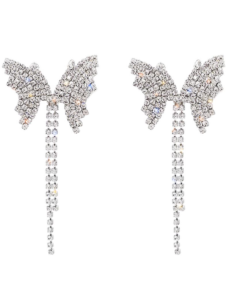 Butterfly Pattern Studded Earrings & Necklace Set