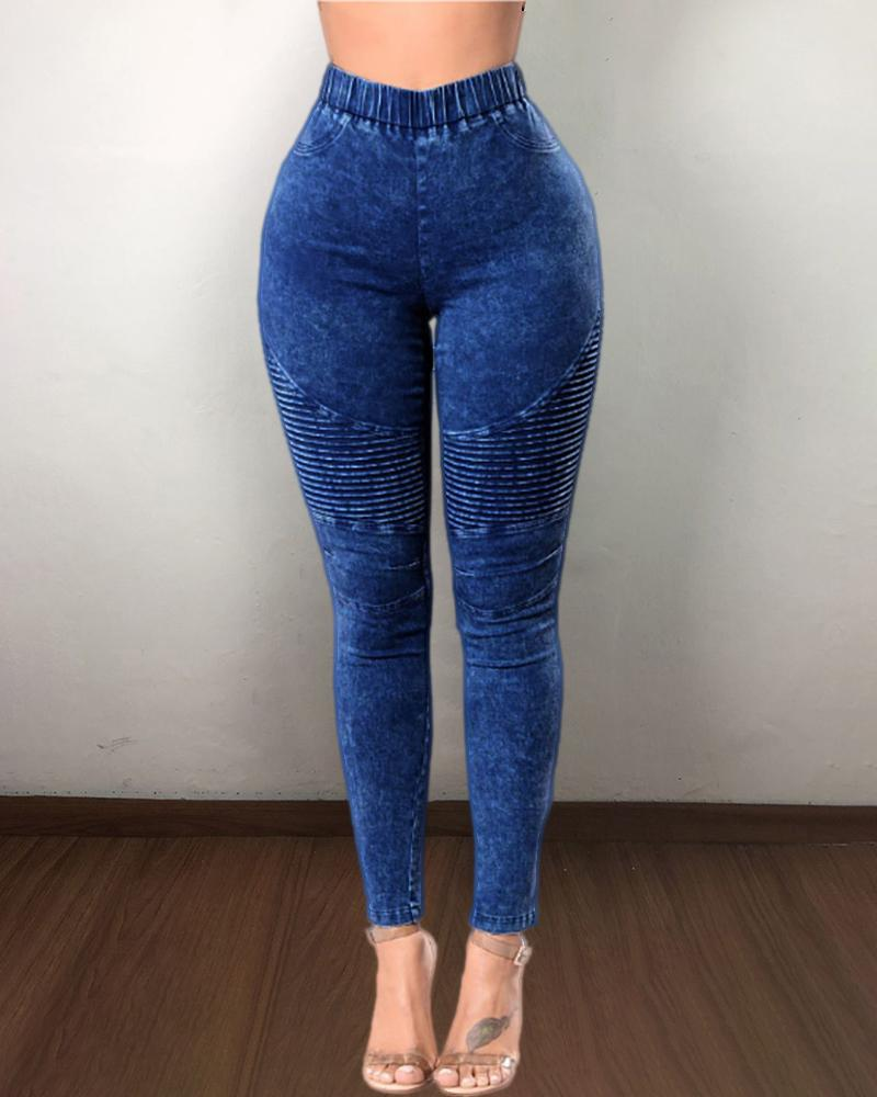 Elastic Waist Casual Denim Pants