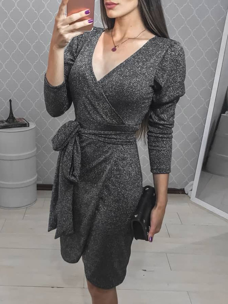 Glittering Tied Waist Wrap Bodycon Dress thumbnail
