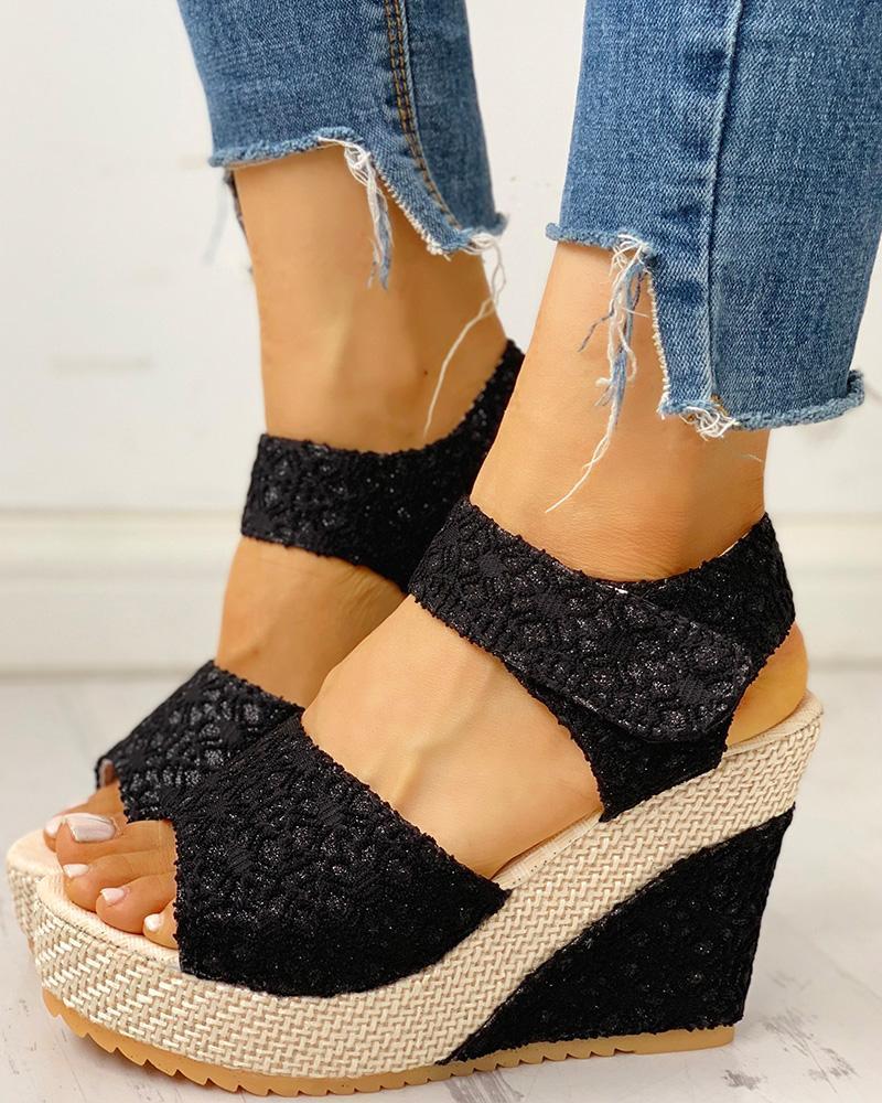 Lace Spliced Peep Toe Platform Wedge Sandals