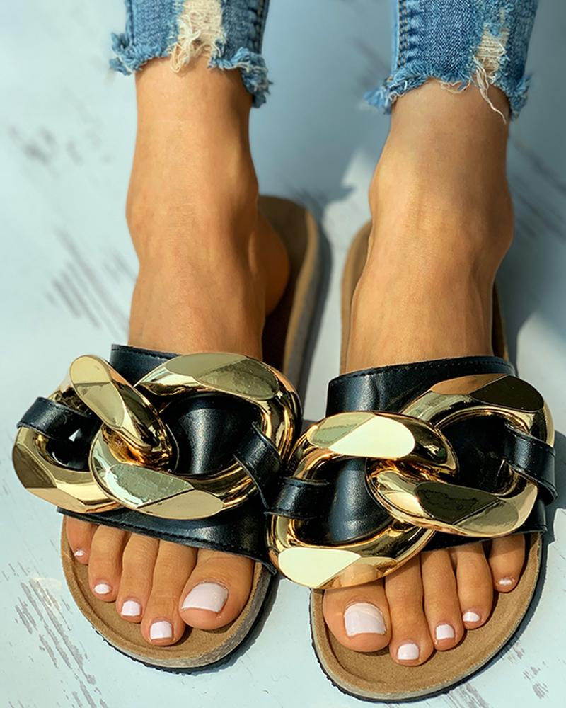 Chain Decor Open Toe Flat Sandals, boutiquefeel, black  - buy with discount