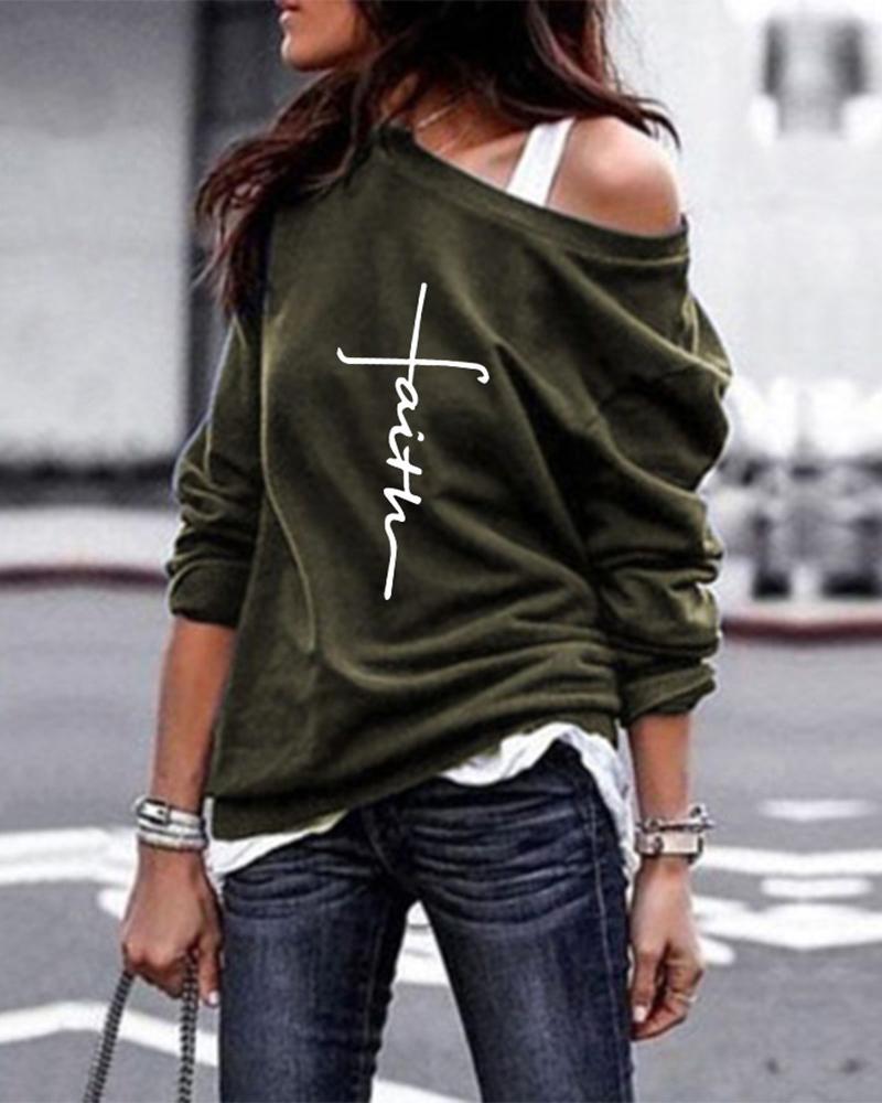 Letter Print Long Sleeve Round Neck Sweatshirt