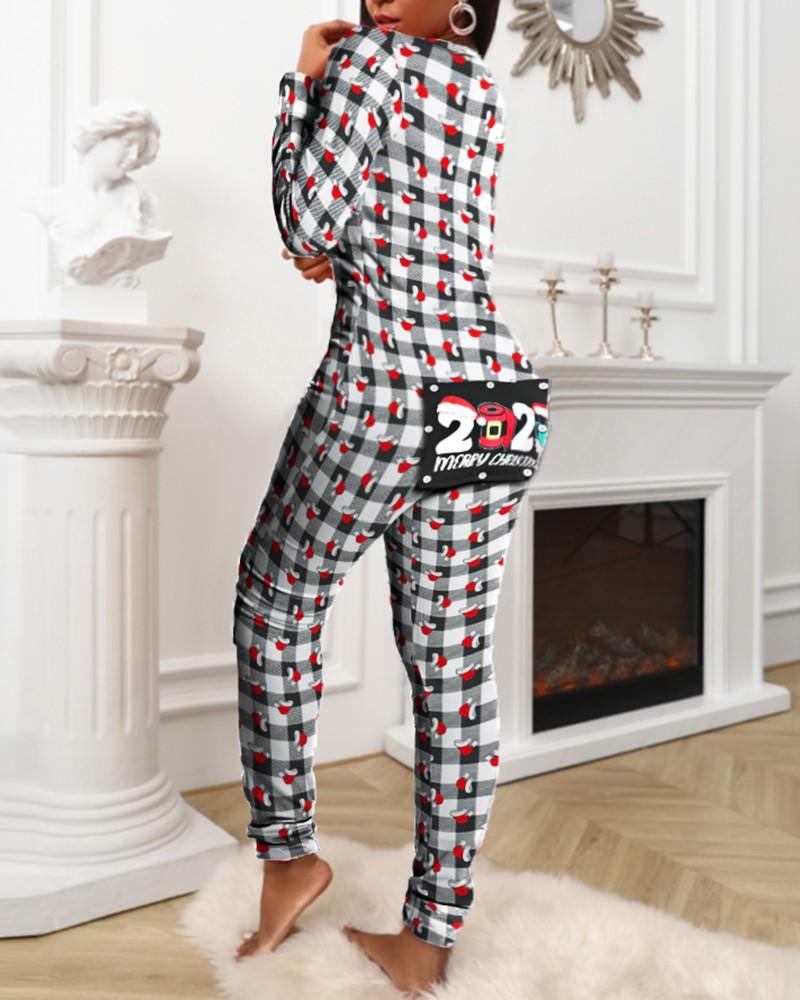 Mujeres Pijamas Tipo Mono Elegante Casual Funcional con Solapa Abotonada Adultos Oto/ño Invierno Ropa de Dormir Homewear Enterizo de Pijamas