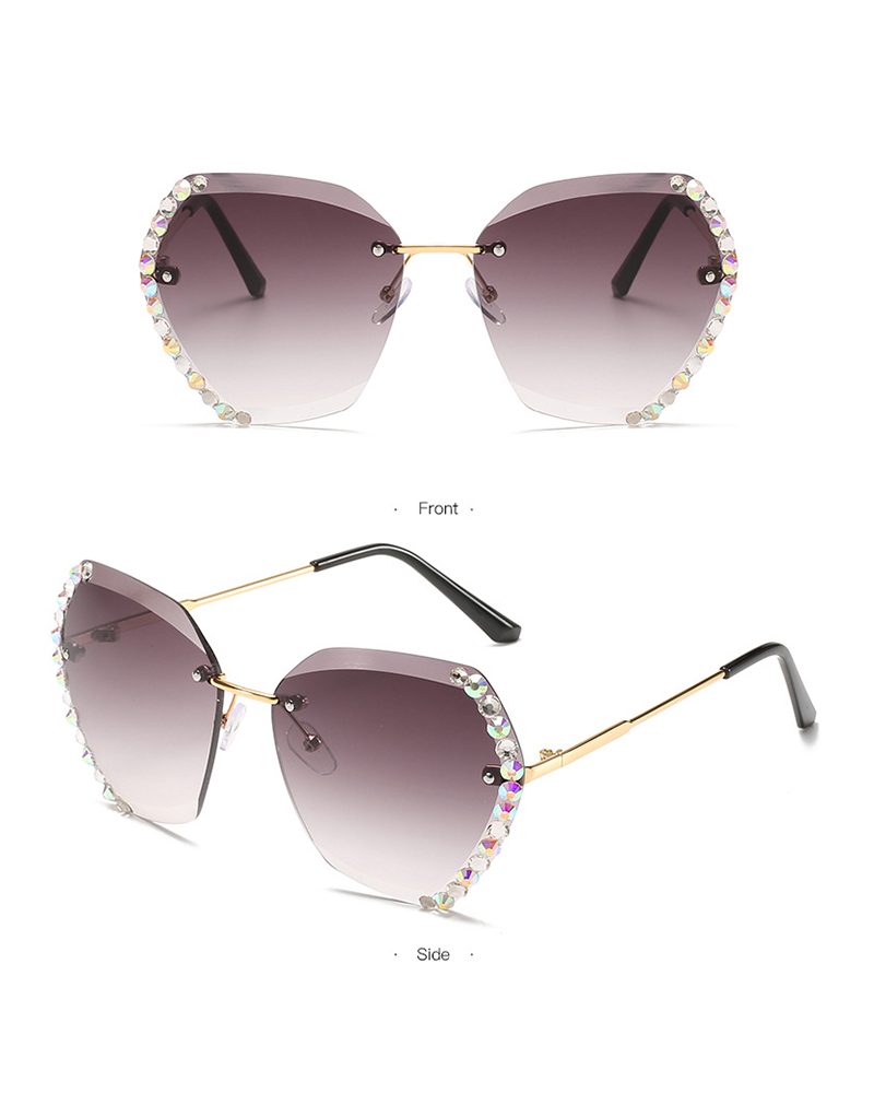 1Pair Studded Ombre Lens Rimless Sunglasses thumbnail