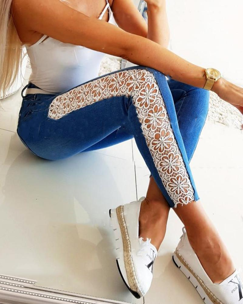 Zipper Fly Contrast Lace Skinny Jeans