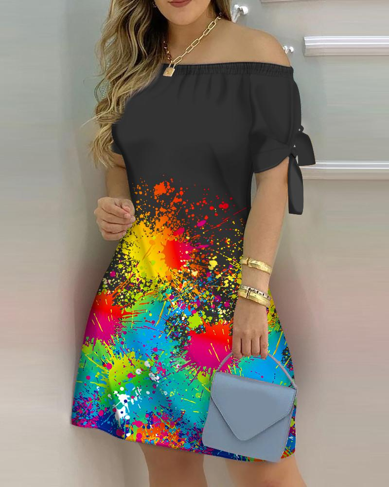 Ink Splash Print Off Shoulder Tied Detail Casual Dress Short Sleeve Casual Summer Dress