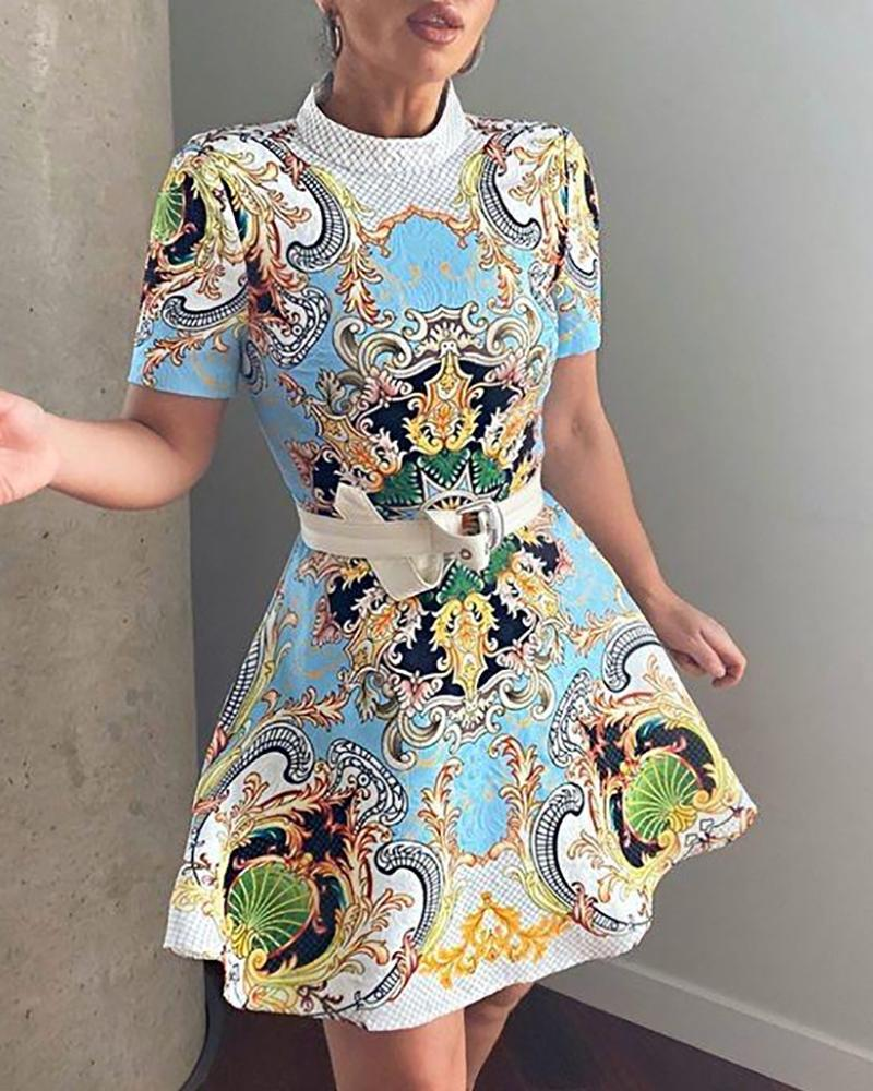 Scarf Print Short Sleeve O Neck Dress