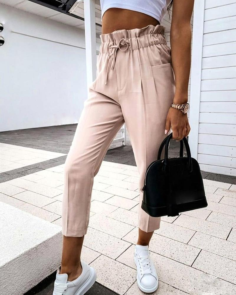 High Waist Ruffles Pocket Design Drawstring Pants, boutiquefeel, Apricot  - buy with discount