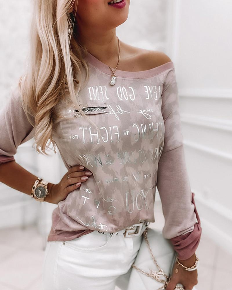 Letter Print Roll Up Sleeve Top
