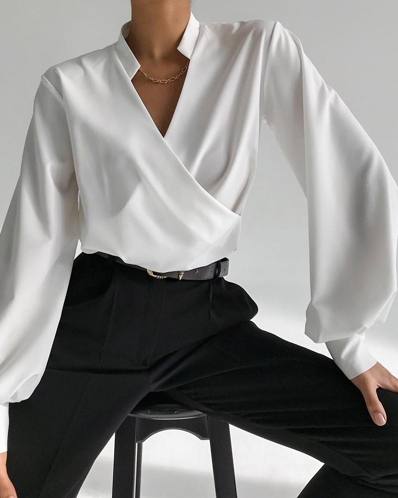Lantern Sleeve V-Neck Casual Wrap Shirt