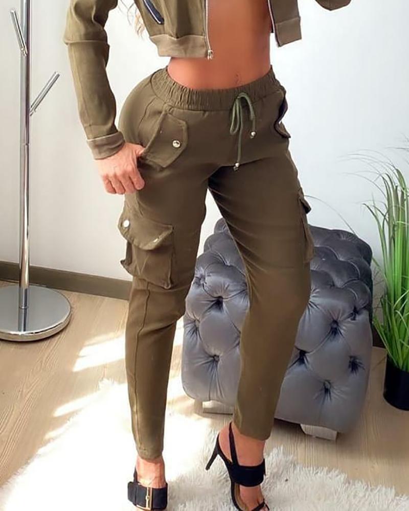 Drawstring Pocket Design High Waist Cargo Pants