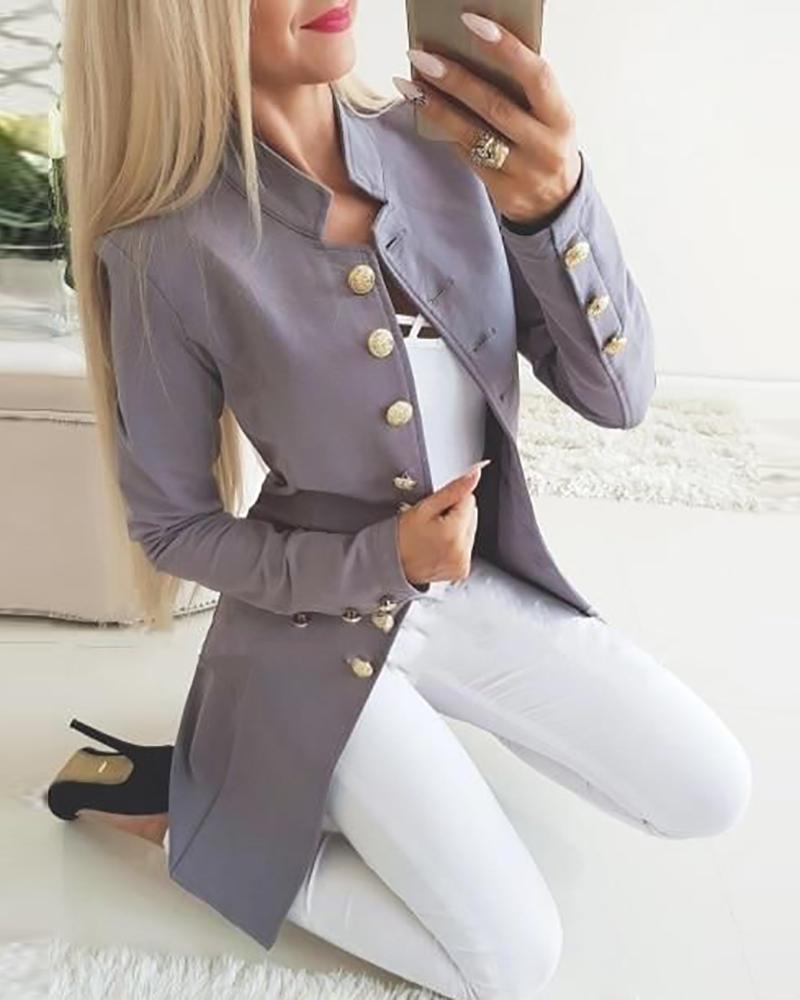 Long Sleeve Buttoned Slit Blazer Coat