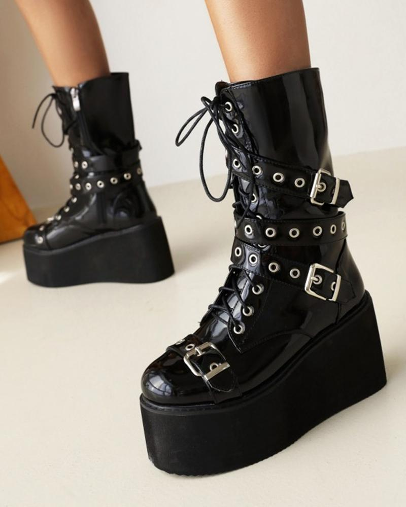 Womens Round Toe Buckle Decoration Lacquered Platform Ankle Boots