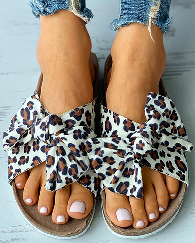 Sandalias con plantilla con estampado de guepardo / teñido anudado con diseño Bowknot