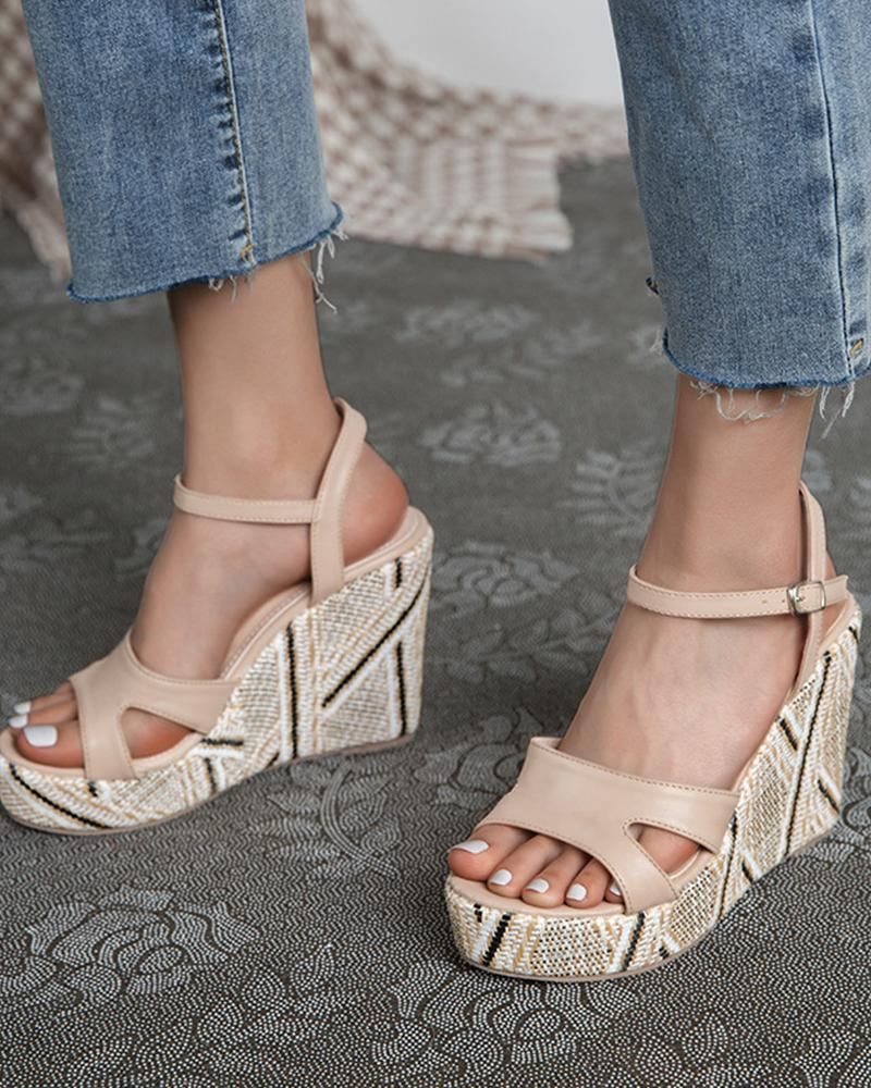 Round-toe Solid Color Hollow-out PU Leather Wedge Sandals