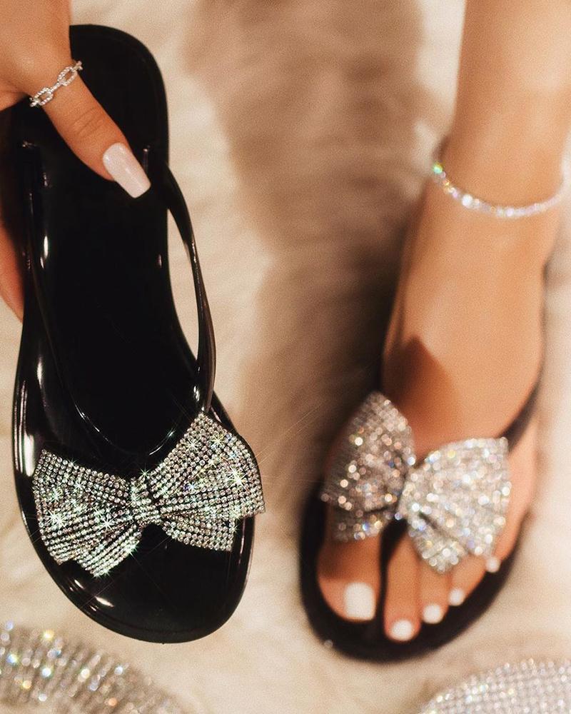 Rhinestone Bowknot Design Open Toe Sandals, Black