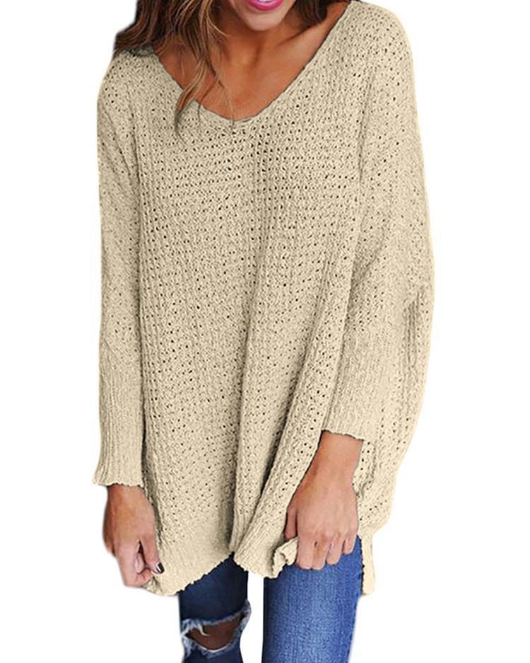 Joyshoetique coupon: Long Sleeve V Neck Loose Sweater