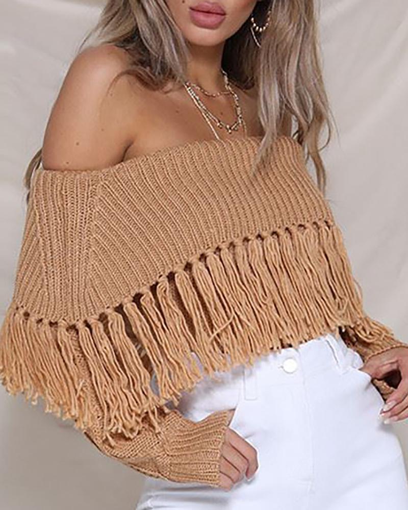 Tassel Design Off Shoulder Knitted Sweater