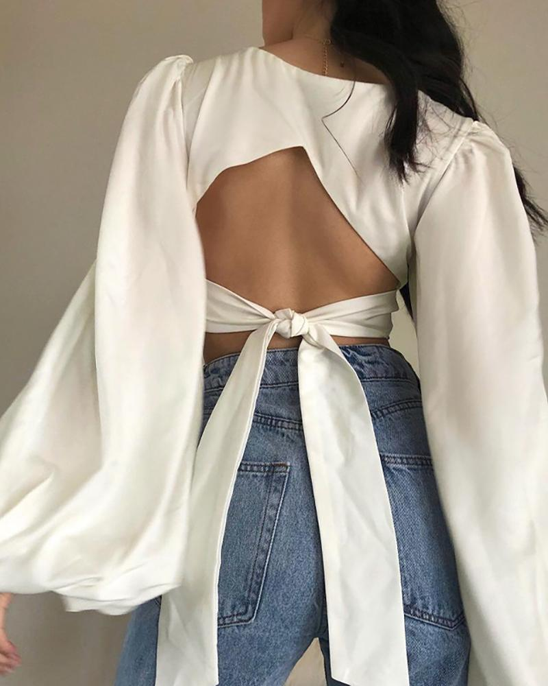 Knotted Backless Lantern Sleeve Crop Top, boutiquefeel, white  - buy with discount
