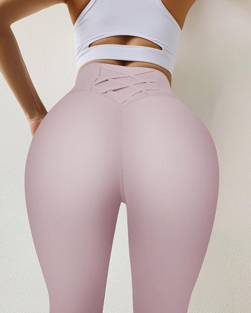 Solid Cross Belt Skinny High Elastic Yoga Pants Active Pants