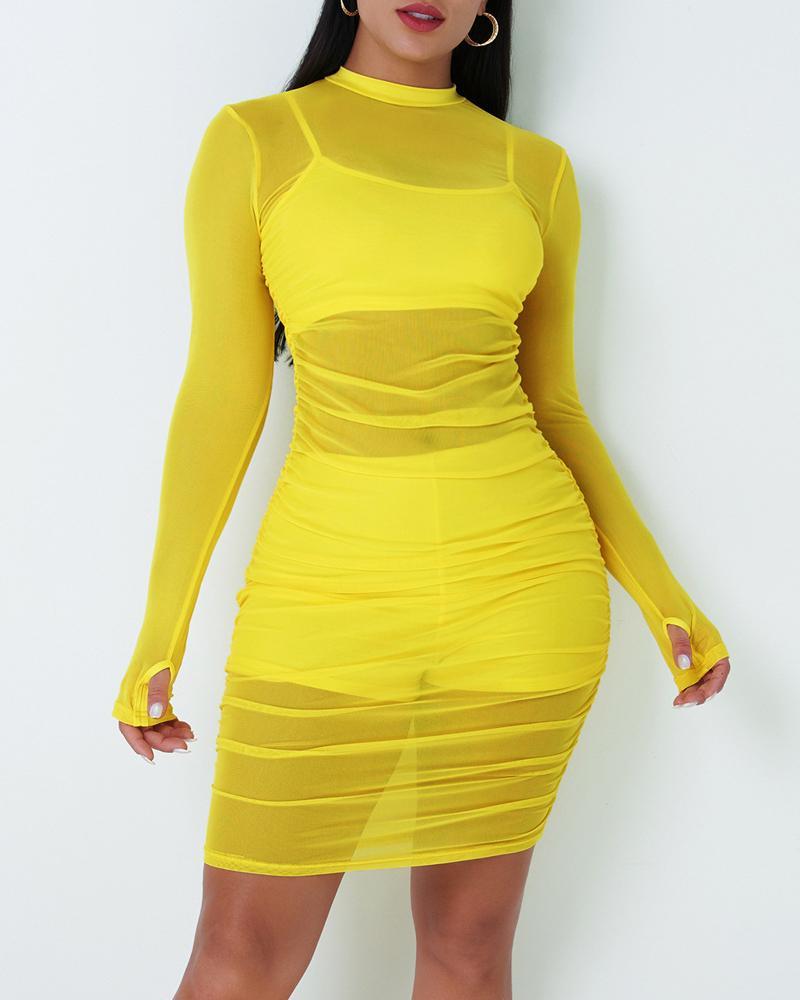 Long Sleeve Ruched Sheer Mesh Bodycon Dress thumbnail