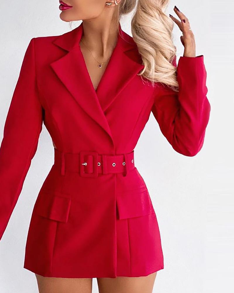 Pocket Decor Cutout Work Dress
