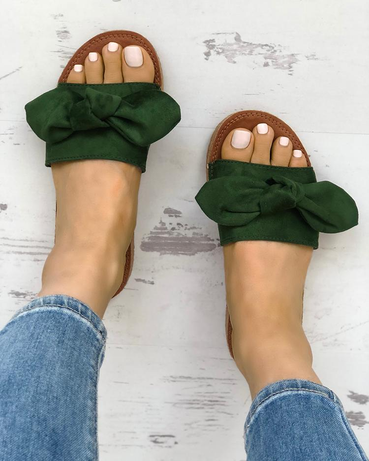 Bowknot Decor Casual Open Toe Slippers