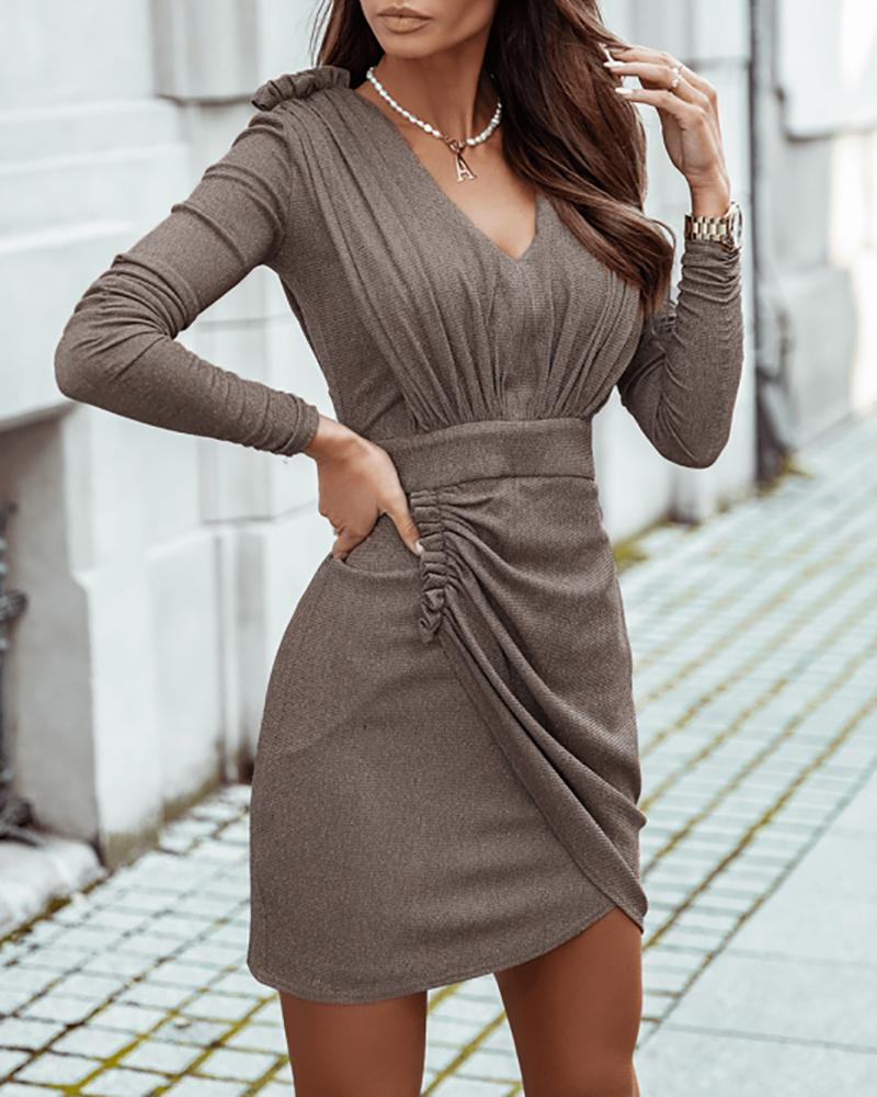 Frill Hem Ruched Long Sleeve Casual Dress